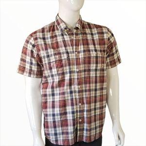 Van's Men's Medium Plaid Shirt Short Sleeve